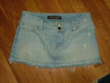 Hollister light distressed denim jean mini skirt frayed hem Too Cute!! 3 x 10""