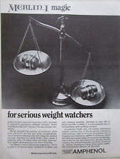 7/1973 PUB AMPHENOL BUNKER RAMO MERLIN I REAR RELEASE CONNECTOR BALANCE AD