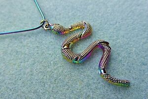 Rainbow Snake Necklace, Stainless Steel. Serpent. Pagan, Wiccan, Kundalini