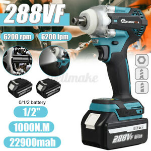 """288VF1000Nm Cordless Impact Wrench 1/2"""" Drive Electric Ratchet Nut Gun + Battery"""