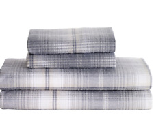 NEW QUEEN FLANNEL SHEET SET GRAY PLAID FLANNEL LIVING QUARTERS FLANNEL
