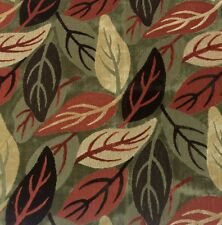 CLARENCE HOUSE LAURELWOOD BROWN RED LEAF MODERN LINEN VELVET FABRIC BY THE YARD