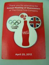 2012 Coke Coca Cola button badge 'Annual meeting of shareholders'           1065