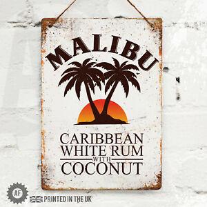 MALIBU Rum Cocktail Metal Wall Sign. Pub Bar Kitchen Home Mancave Retro  Coconut