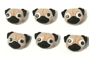 6PC Puppy Dog Pug Flatback Embellishments Hair Bows Cupcake Toppers Jewelry DIY