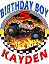 HOT WHEELS TIRE CUSTOM BIRTHDAY BOY SHIRT ADD NAME & AGE FOR FAMILY PARTY