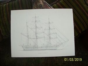 "Charles W. Morgan WhalerTall Ship Artwork Drawing On Foam Core Board 24"" X 18"""