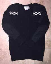 "Obselete Nato Mens Jumper Sweater Black Epaulettes Security Police 44"" 100% Wool"
