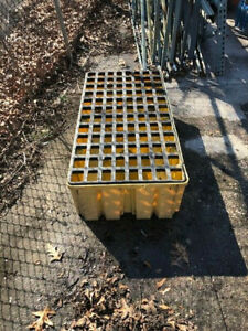 Two Drum Spill Containment Pallet with Drain Used