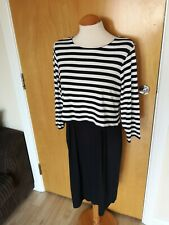 Ladies M&S Dress Size 14 Navy White Nautical Stretch Smart Casual Day