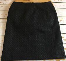 Ann Taylor Women Black A Line Zip Up Back Slit Career Tweed Skirt Size 2