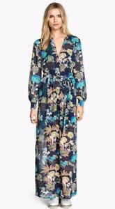 H&M Conscious Blue Floral Boho Long Sleeve Chiffon Maxi Dress Size 4