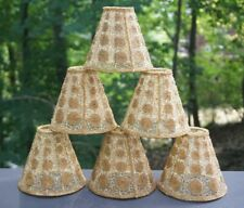 Set 6 Vintage Hand Beaded on Mesh Fabric Chandelier Lamp Shades Clip on C1950s