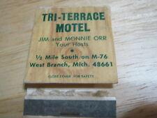 Vintage Tri-Terrace Motel West Branch MICH Jim & Monnie Orr used matchbook