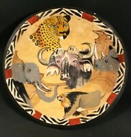 Antique Hand painted wood bowl. African Folk Art. Cheetah, water buffalo. 12.5""