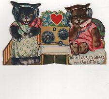 vintage mechanical Valentine Card 2 cat kitten playing music radio Headphones