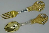 A. Michelsen Danish Sterling Silver Wheat & Birds Fork & Spoon CHRISTMAS 1924