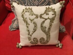 POTTERY BARN LILLY PULITZER/ Gold EMBROIDERY Seahorses 12 X 12 PILLOW