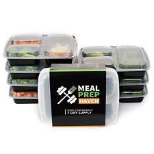 Contenedores de alimentos de preparación comida BPA Gratis Microweavable Reutilizable 3 compartimentos 7 piezas