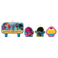 Dreamworks Trolls Birthday Party Cake Topper Candles 4 Pack