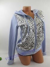 Victoria's Secret ** PINK ** Hoddie Lilac Silver Sequin on front XSMALL NWT