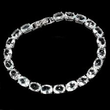 Unheated Oval Aquamarine 8x6mm 14K White Gold Plate 925 Sterling Silver Bracelet