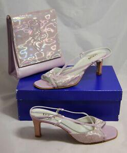 Lotus Ladies Nerys Pearlised Shoes, Heels-Size 6.(39) Matching handbag.