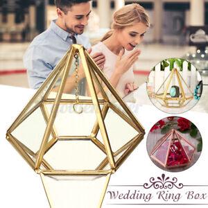 Wedding Ring Box Glass Hanging Prism Holder Supplies Antique Cushion Copper UK