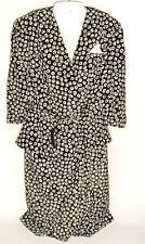 Liz Roberts Vtg Women's Secretary Dress Black Geometric mod Sz 12 belted dickie