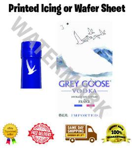 Grey Goose Vodka Label Edible Wafer Icing Cake Topper