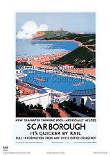 Yorkshire Scarborough Railway Travel Poster retrò vintage pubblicità arte