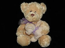 TESCO TEDDY BEAR SOFT TOY CREAM MOTHER AND BABY COMFORTER DOUDOU LILAC RIBBON