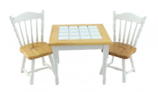 Dolls House White Light Oak Dining Table & 2 Chairs Miniature Furniture Set