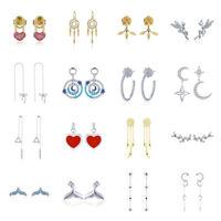 Voroco 925 Sterling Silver Stud Earrings Charm With Zircon For Women Jewelry