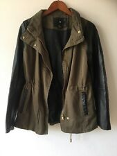 New Look Khaki Green Faux Leather Sleeved military Jacket Size 10
