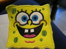 Iron on embroidered applique- Sponge Bob head- 1 ea. 4x4.5 in