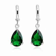 Elegant 18K White Gold GP Earrings Green Emerald Teardrops Swarovski Crystals