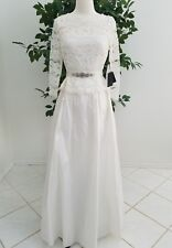 Formal wedding 3/4 sleeve long lace satin ivory cream dress,A.Papell,s.2,$249.00