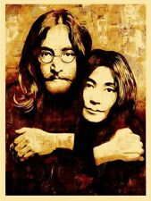 Shepard Fairey Obey Giant John and Yoko Beatles Canvas Print Mint Signed Poster