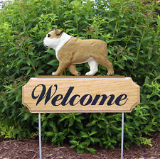 English Bulldog Welcome Sign Oak Wood Yard Sign Tan