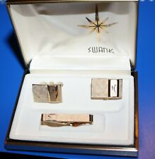 NIB Swank goldtone cufflinks and tie tack set new in box satin pattern plus