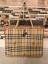 Vintage Burberry Vinyl Leather Large Open Tote Handbag- Rare Design