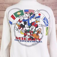 VTG MICKEY INTERNATIONAL EPCOT WHITE 90s PULLOVER SWEATSHIRT SZ L LARGE