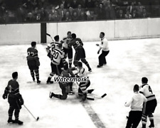 NHL 50's Maurice Richard Montreal Canadiens Fights Boston Bruins 8 X 10 Photo