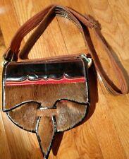 VINTAGE Artisan Colorful Tribal Leather & Fur Ethnic Accordian Saddle Bag