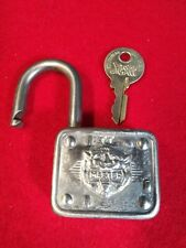 """LION HEAD"" MASTER PADLOCK W/ KEY, VINTAGE ANTIQUE OLD LOCK"