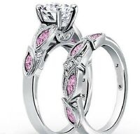 3.10 Carat Round White Pink Style Diamond Engagement Ring Set 14k White Gold