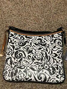 NEW NWT BRAHMIN Black And White Rousseau Crossbody Leather JODY Purse