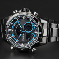 INFANTRY Mens Digital Quartz Wrist Watch Chronograph Army Black Stainless Steel