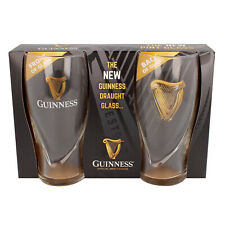 Guinness Pint Glass Two-Pack Set With Embossed Gold Harp Logo